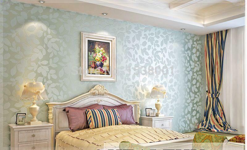 Best Elegant Non Woven Light Blue Leaf Embossed Wallpaper Warm 400 x 300