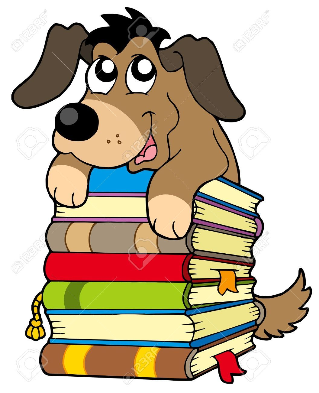 cute dog on pile of books vector illustration book fair rh pinterest com dog reading clipart Cartoon Dog Reading