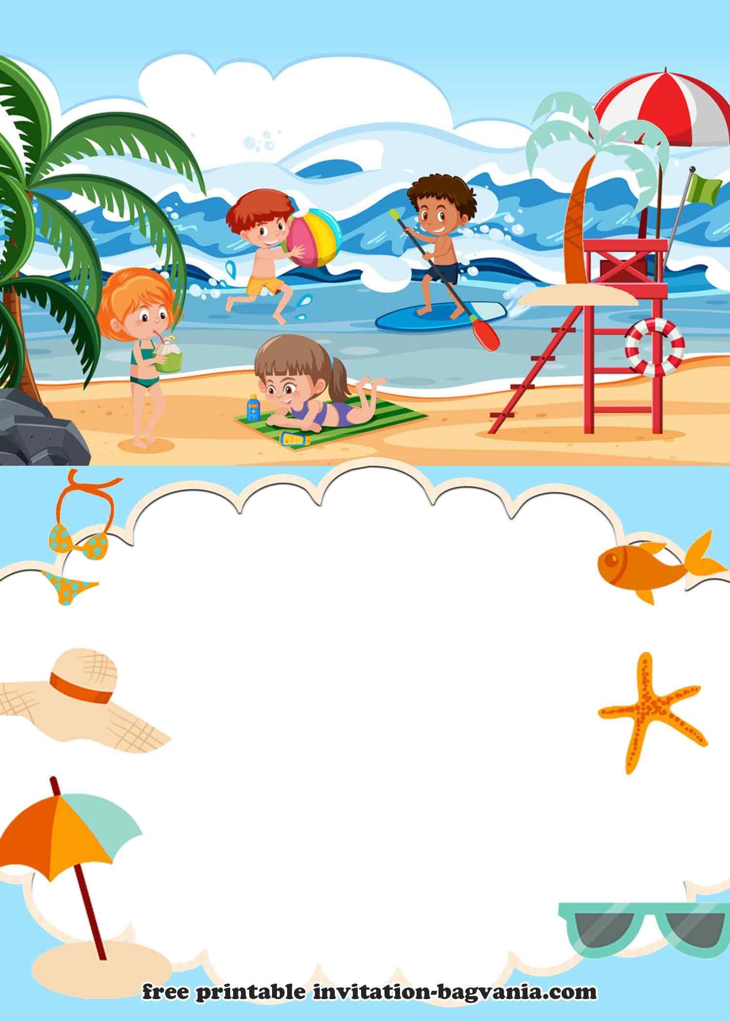 Free Beach Theme Birthday Invitation Templates Cumpleanos