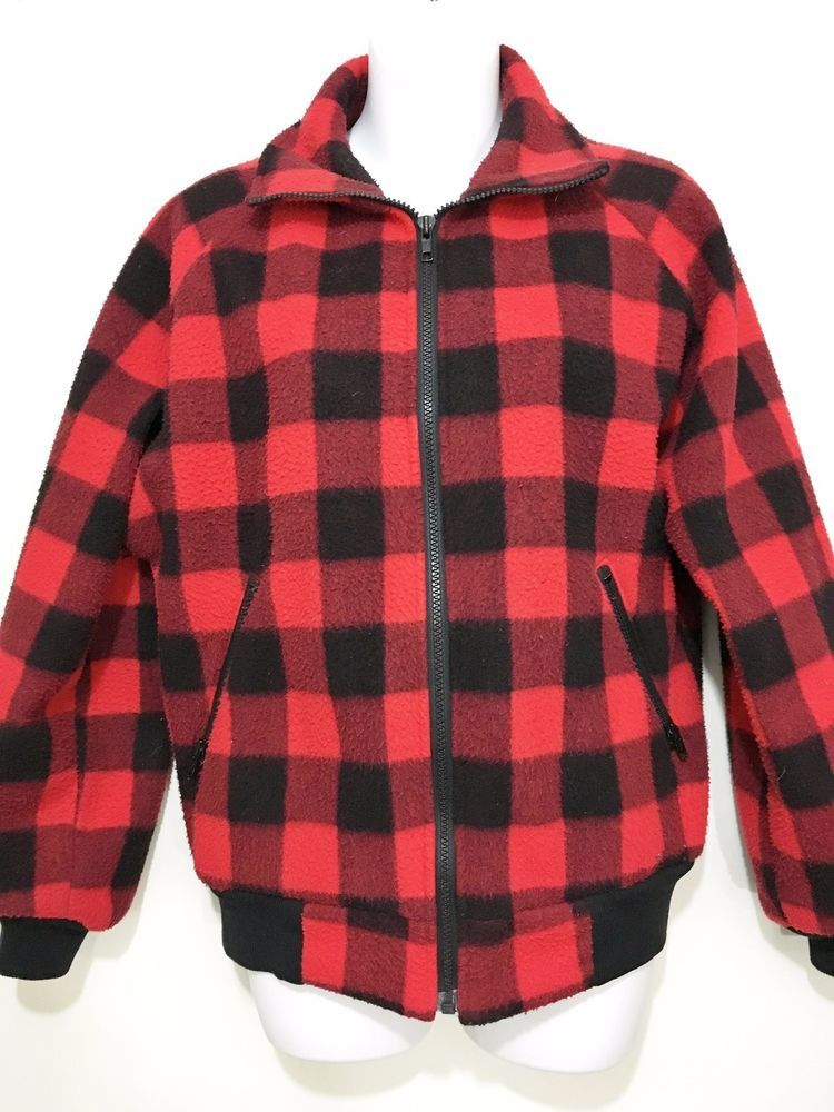LL Bean Womens M Red Black Buffalo Plaid Fleece Jacket Made in USA ...