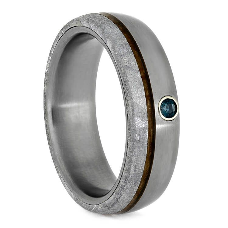 7acb267d4eb56 Alexandrite Men's Wedding Band With Meteorite And Whiskey Barrel ...