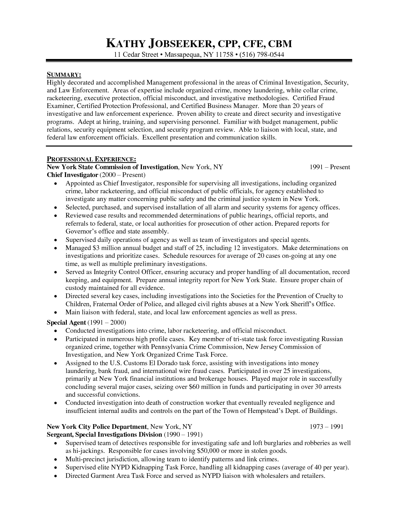 investigator job description resume