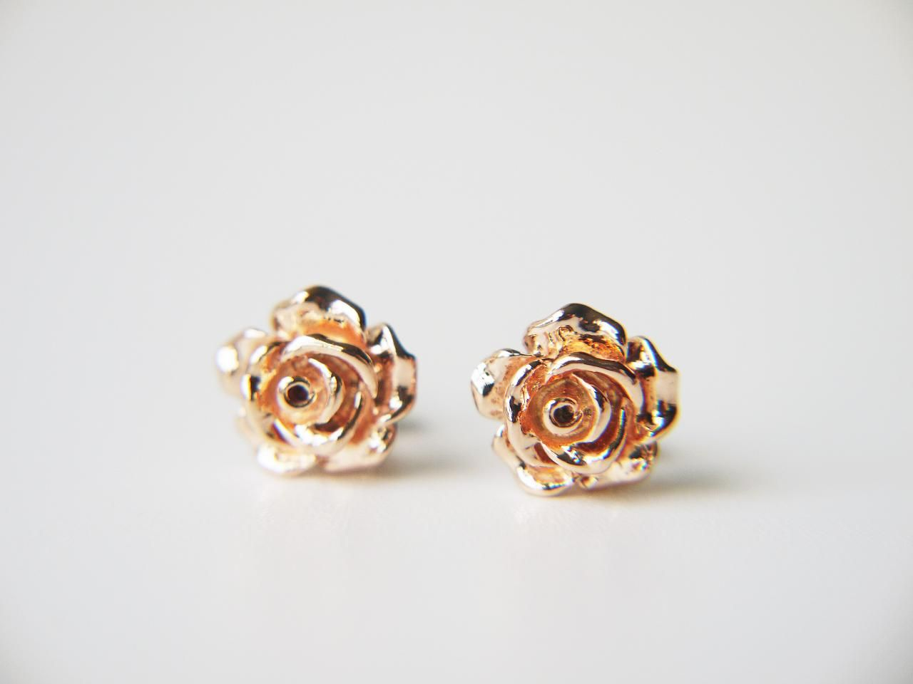 Rose Gold Rose Flower Post Earrings Flower Earrings Studs Rose Earrings Modern Stud Earrings