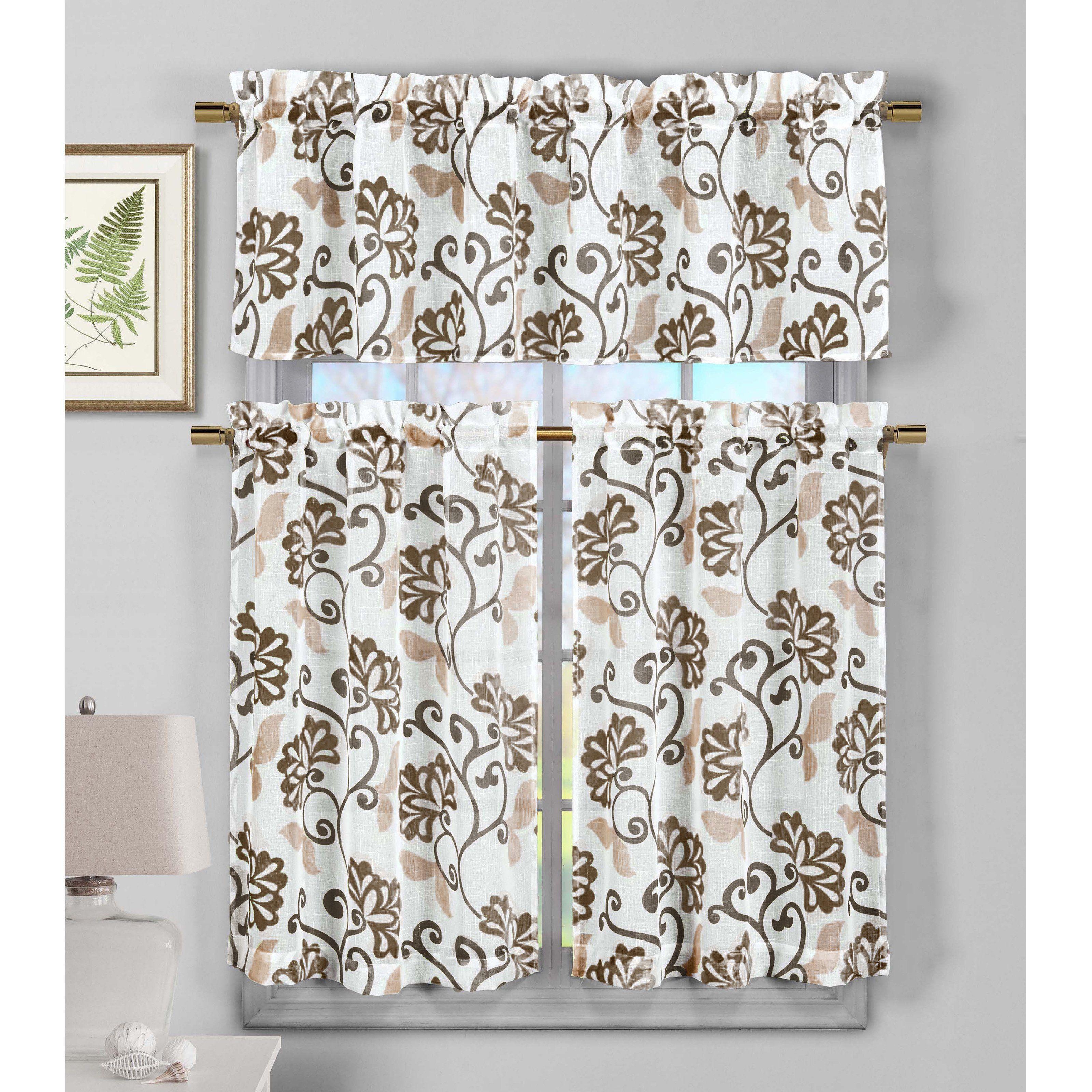 Duck River Rivietta Faux Linen 3 Piece Kitchen Curtain Set