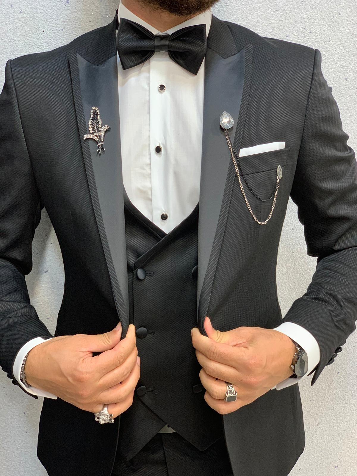 Aima Black Slim Fit Tuxedo in 2020 Slim fit tuxedo