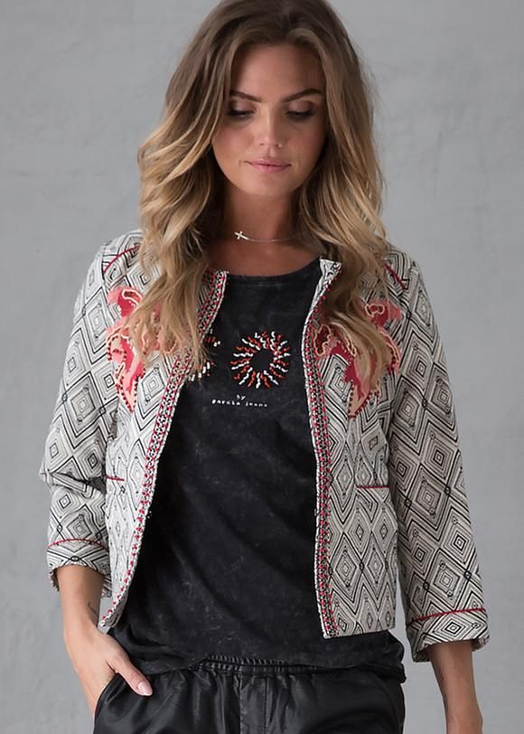 c01e757e631c Jakke mønstret C70090 Ladies Jacket - off white