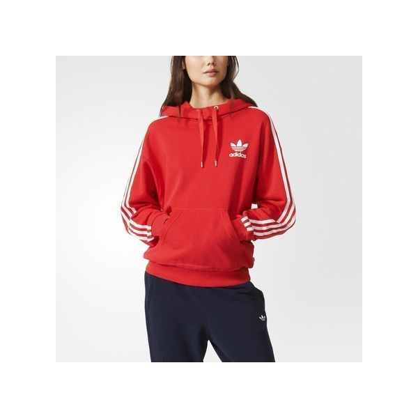 adidas 3 Stripes Hoodie ($65) ❤ liked on Polyvore featuring