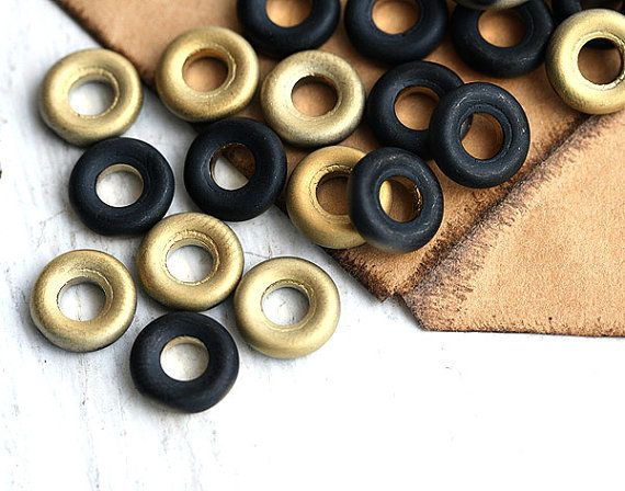Golden Black Ring beads donut Czech glass round flat door MayaHoney