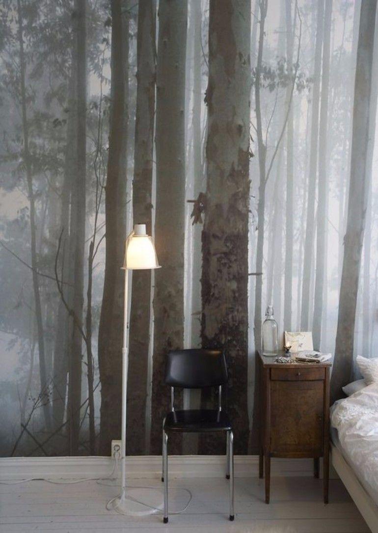 Luxurious Master bedroom forest wallpaper | www.masterbedroomideas.eu |  #luxuryfurniture #exclusivedesign #interiodesign #designideas #masterbedroom #masterbedroomideas #wallpaper #wallpaperdesign