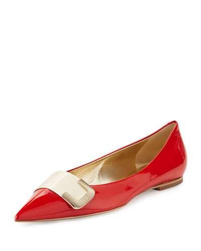 ROGER VIVIER DEMI BUCKLE-TOE PATENT BALLERINA FLAT, RED ORANGE. #rogervivier #shoes #flats