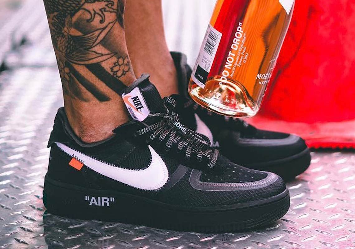 Detailed Look At The Off White X Nike Air Force 1 Low In Black Nike Air Force Nike Nike Air