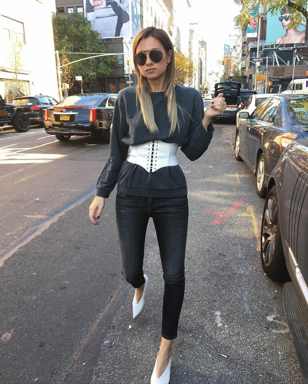 a5b3cb40b69 Bustier on Top Tip  Shop for a corset to wear over an oversize sweatshirt  or graphic T-shirt. It ll flatter the tiniest part of your body and  highlight an ...