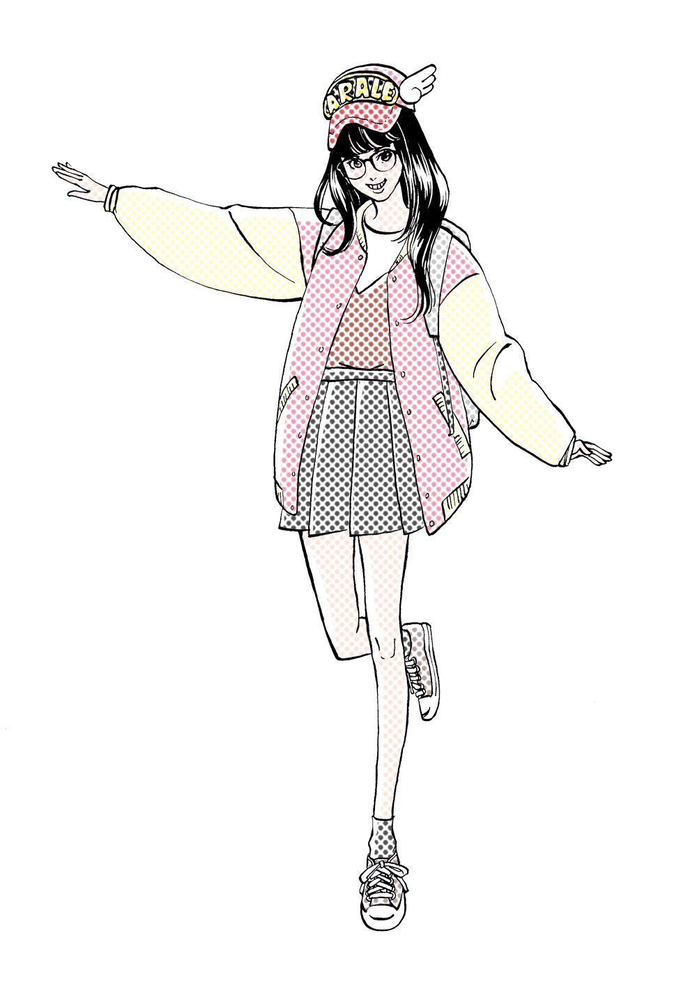 Miyamoto Yoshiko Illustrator アラレちゃんコスプレの女子高生 イラスト アラレちゃん アラレちゃん イラスト