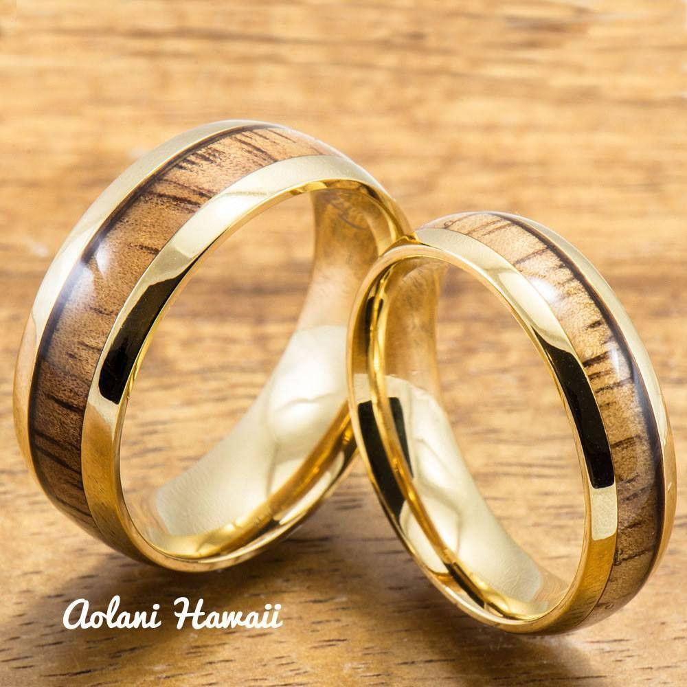 Stainless steel wedding rings set with hawaiian koa wood mm u mm