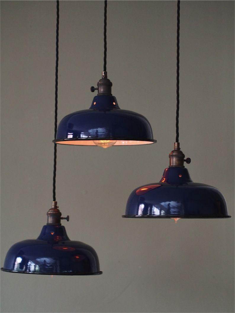 abat jour emaille lampe industrielle bleu nuit  lampe