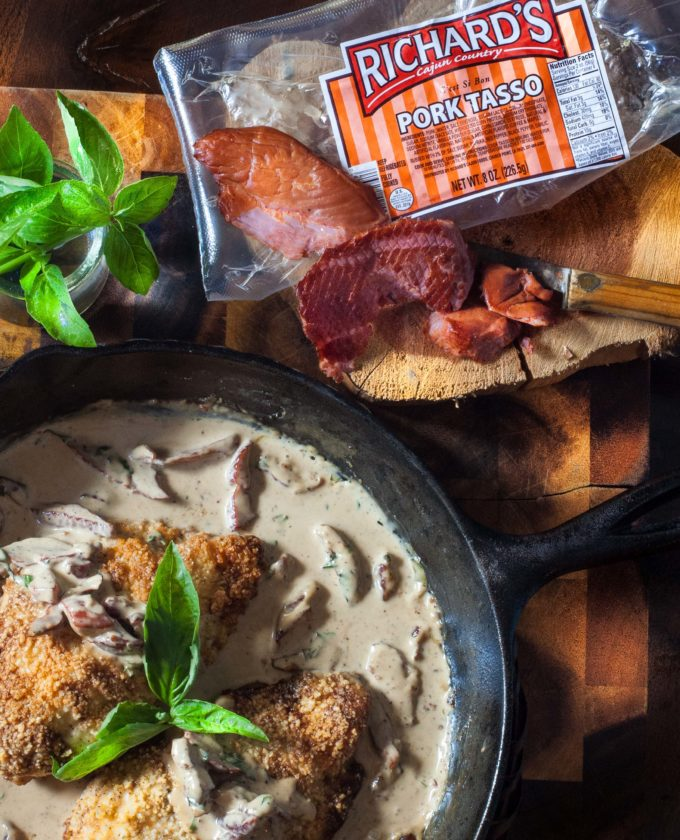 Photo of Chicken Breasts with Tasso Cream is a recipe featuring Cajun pork tasso.