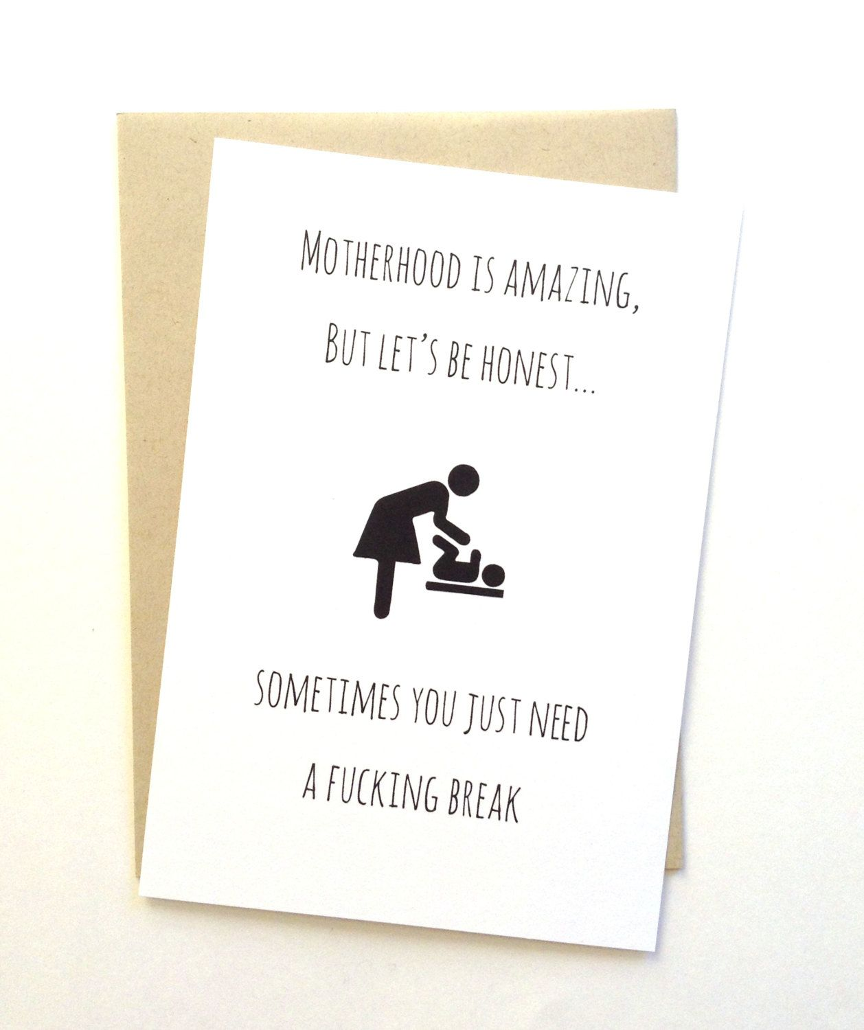 new mom card, new mother support and encouragement card, gift for expecting mom. Motherhood is amazing.
