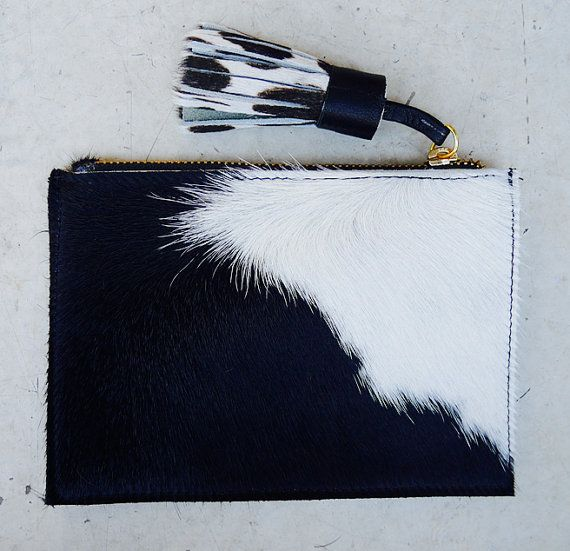Coin Purse Cow-Hide Leather Clutch with Chunky Leather Tassel