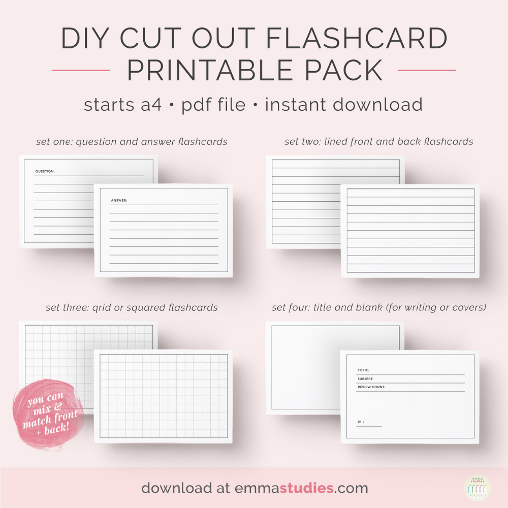 Emma S Studyblr Printable Flash Cards Flashcards Study Flashcards