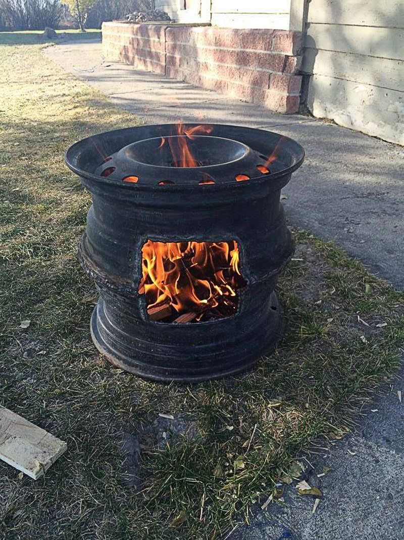 How To Make Recycled Car Wheel Fire Pit Diy Crafts Backyard Landscaping Designs Rim Fire Pit Diy Fire Pit