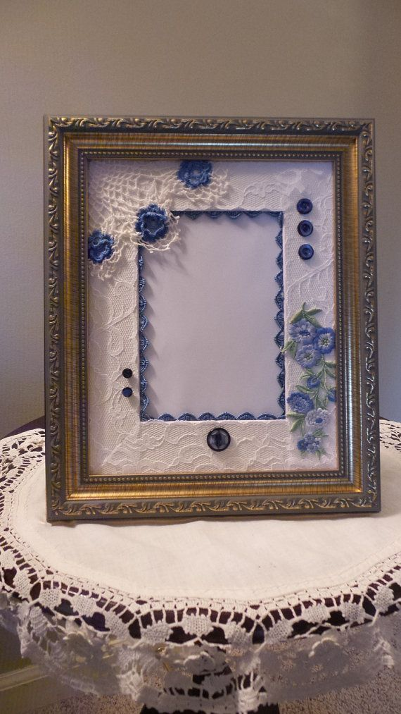 Upcycled Blue Crochet Picture Frame Mat 8x10, Denim Blue Country ...