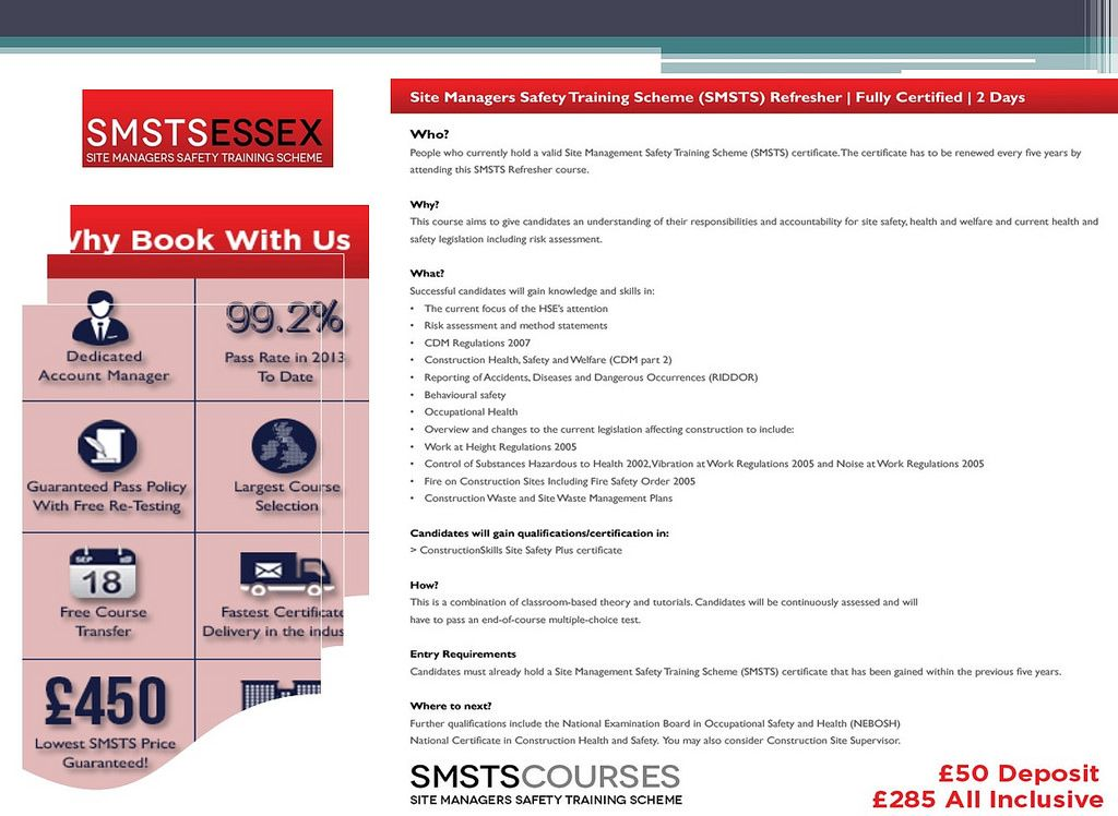 SMSTS Course Centre Colchester, UK Smstsessex Safety