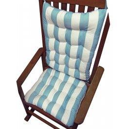 coastal cabana stripe aqua rocking chair cushions latex foam fill