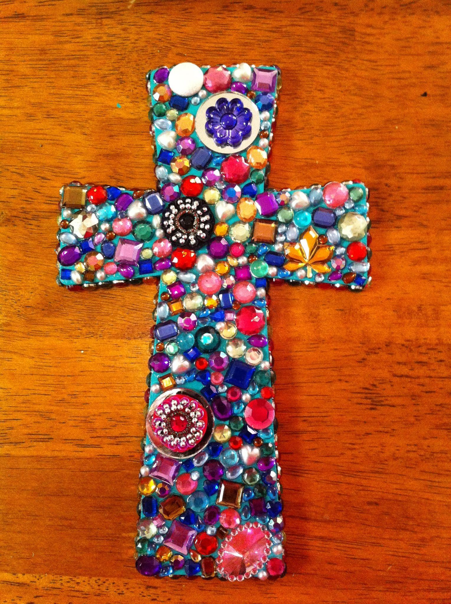 Besides cross clip art wall decor decorative wood cross decorative - Bejeweled Homemade Cross Wooden Crossesart