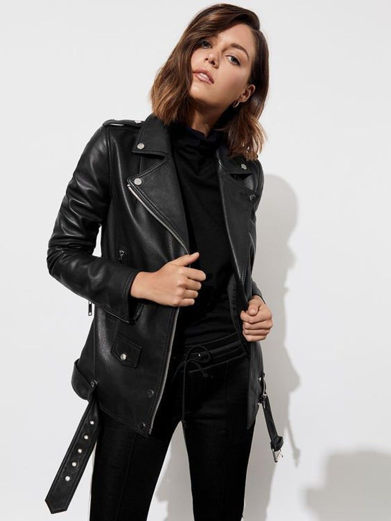 Lucy Black Ladies Jacket New Biker Style Fashion Real Lamsbkin Leather Jacket