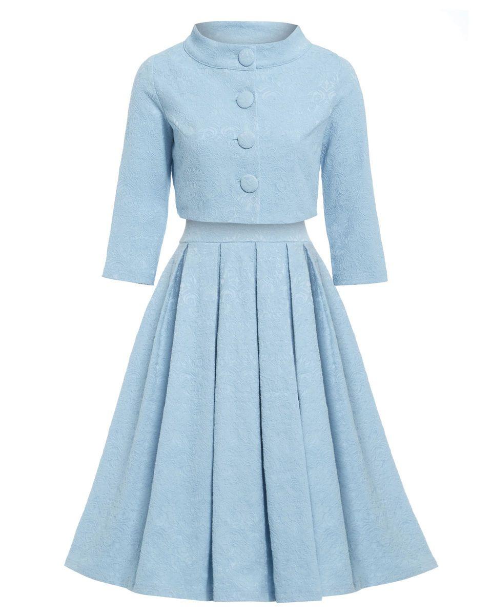Lindy Bop Marianne Twin Set Dress Jacket Blue Jackie O 1950s Vintage ... 9243c4201e02
