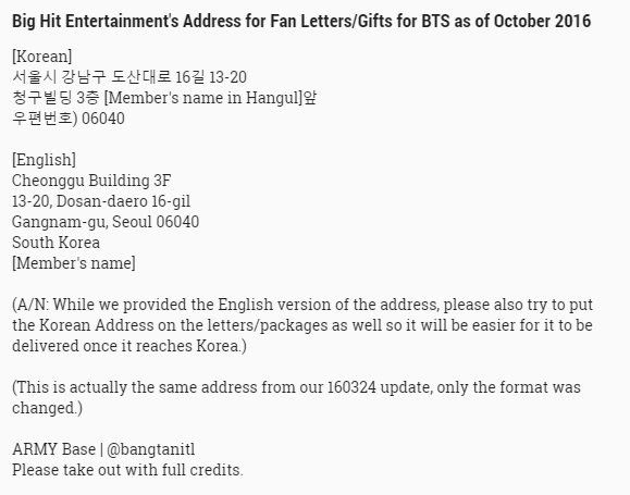 Bts Fan Mail Address  Kpop Mostly Exo  Bts    Bts