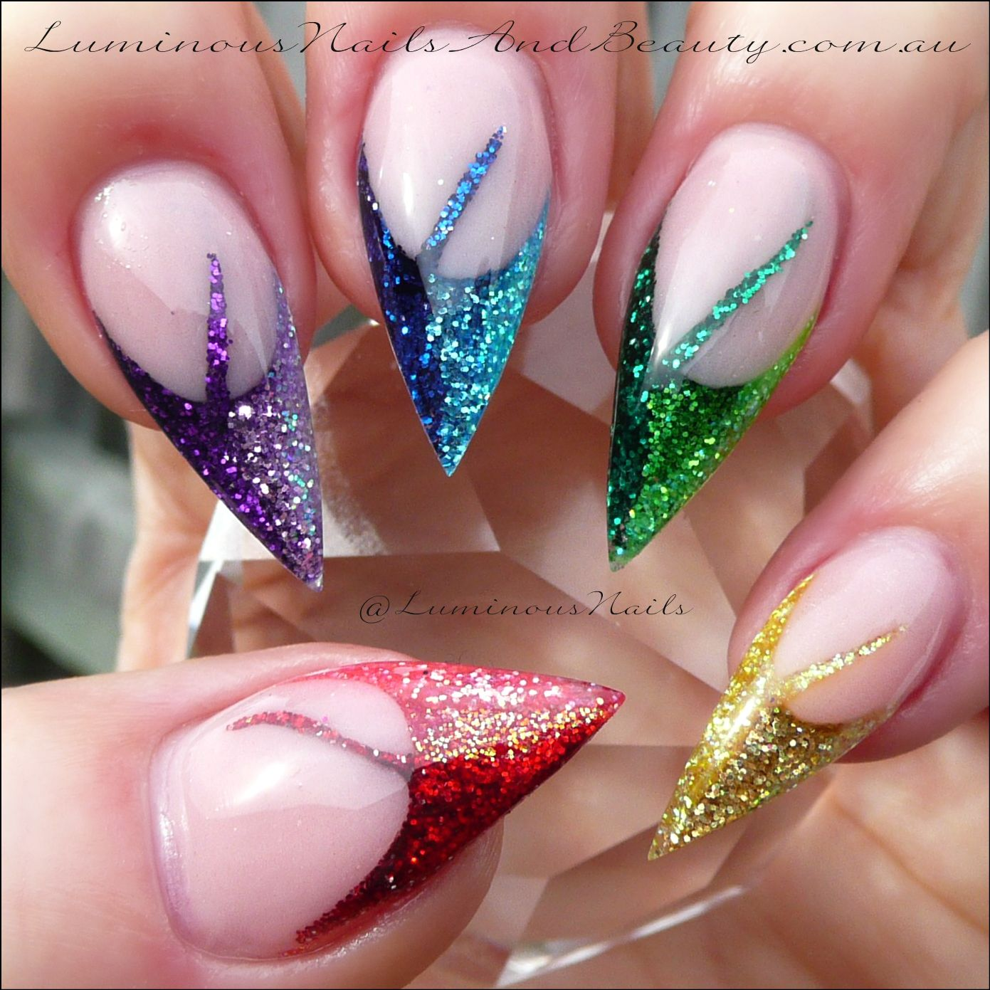 Rainbow Glitter Nails Sculptured Acrylic using Young Nails ...