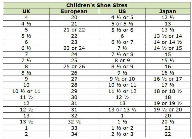 Kids shoe size conversion chart also bogasrdenstaging rh