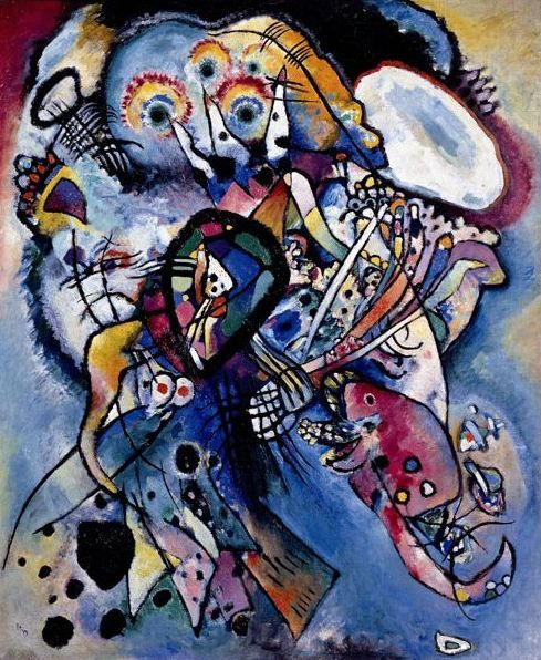 """Wassily Kandinsky. Composition #218 (Two Ovals), 1919 Oil on canvas 42.1 × 35"""" (107.0 × 89.0 cm) Saint Petersburg, Russia. The Russian Museum"""