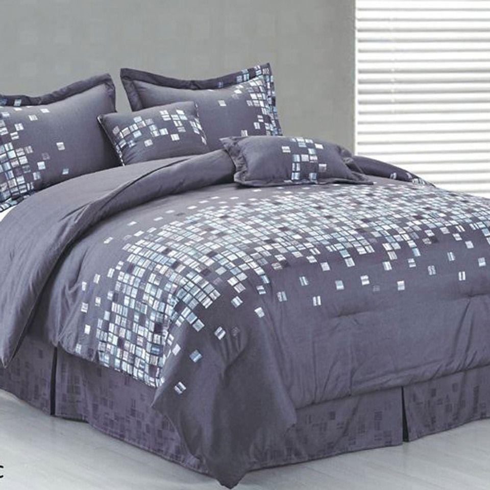 Mosaic 6 Piece Queen Bedroom Set Dark Brown: Mosaic 6 Piece Comforter Set In Aqua & Blue