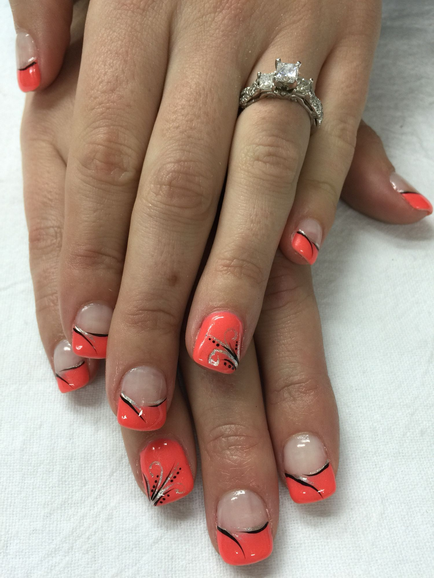 Funky Neon Coral French Gel Nails With Silver Black Accents All Gel Is Nontoxic Odorless French Nail Art Gel Nail Designs Nails