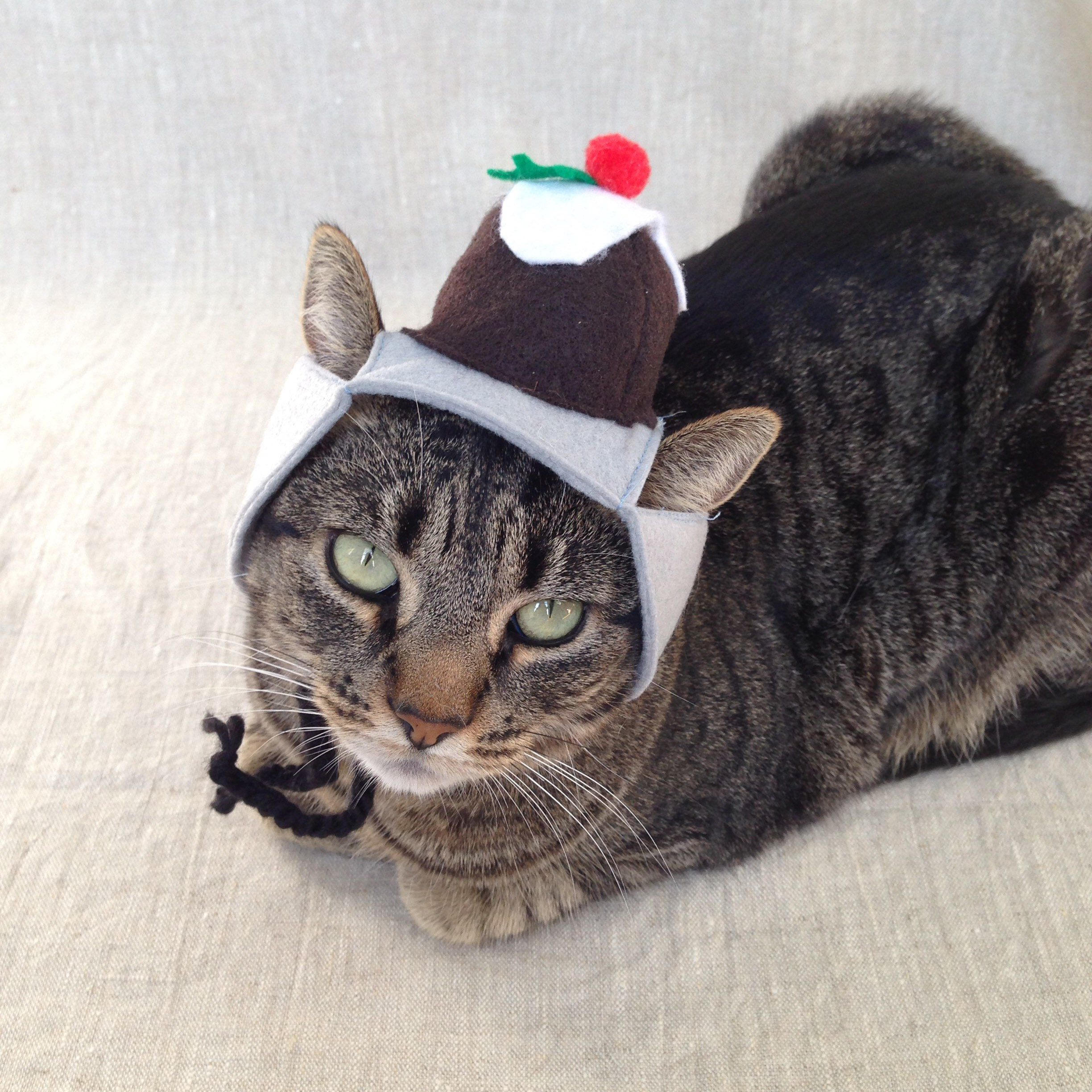 Christmas Pudding Hat For Cats Etsy Hat For Cat Christmas Pudding Pet Costumes