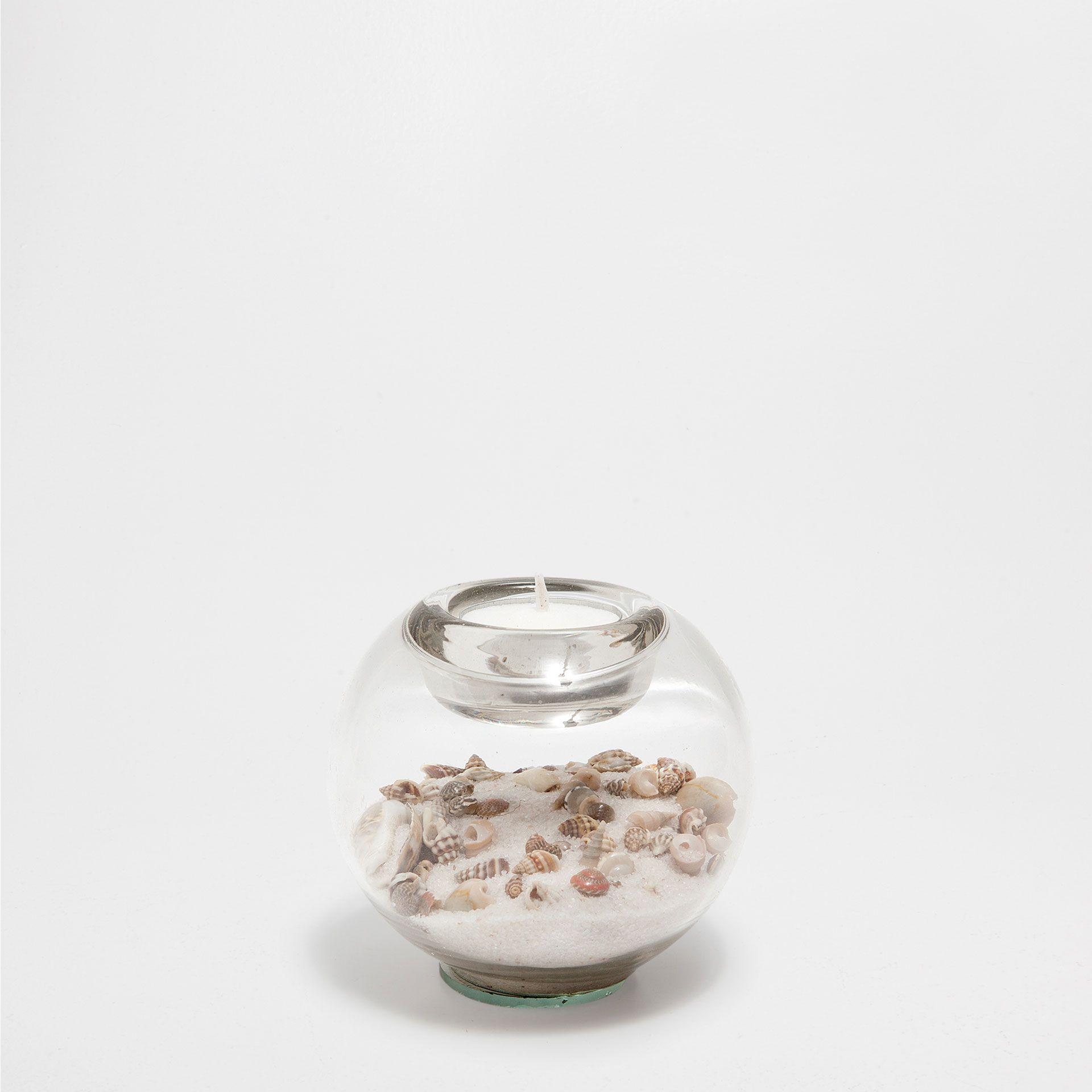 Porte bougie verre coquillages et sable zara home - Porte bougie en verre ...