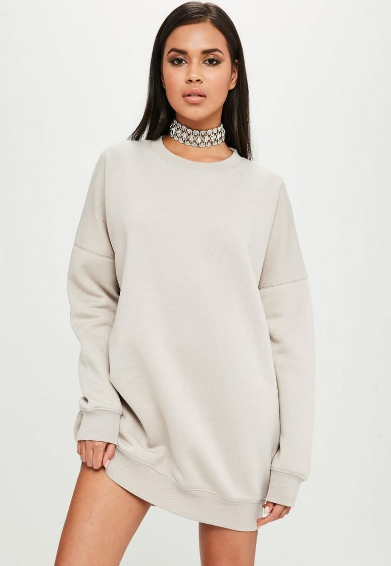 d7cb688e9944 Carli Bybel x Missguided Nude Oversized Sweat Dress