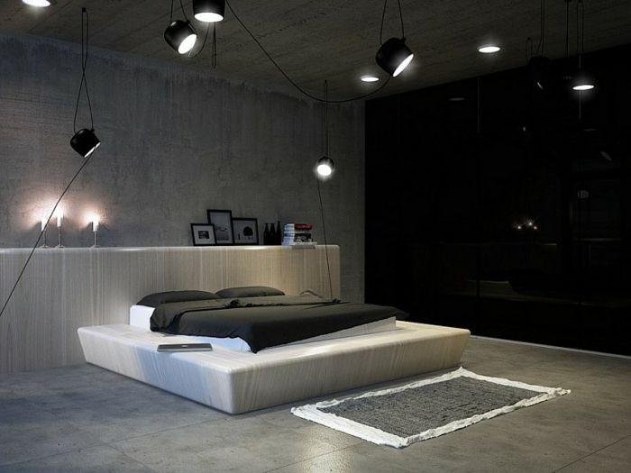 Modern Einrichten Zeitgenössisches Schlafzimmer Coole Beleuchtung