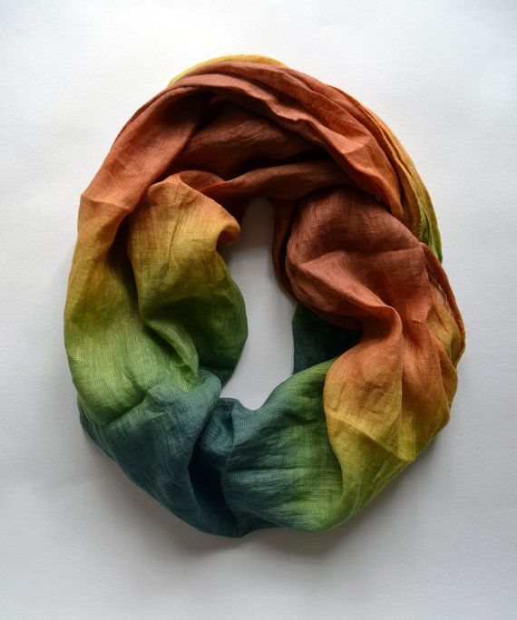 Green Linen Scarf  Oversized Linen Scarf  Fashion by lyralyra, $32.00