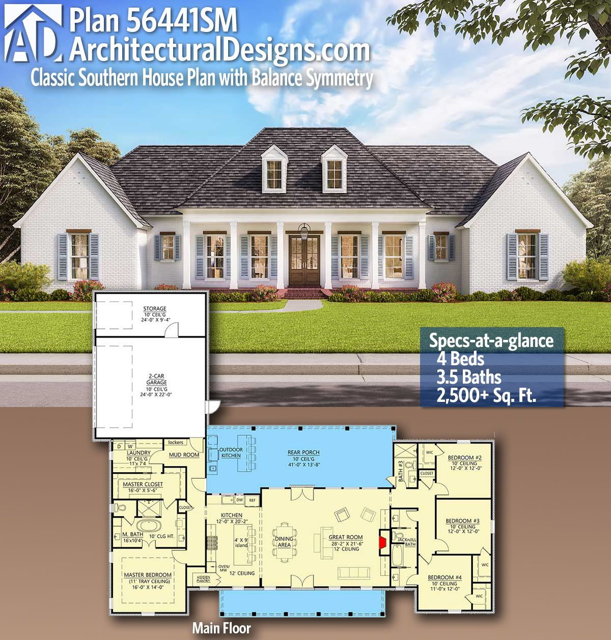 Plan 56441sm Classic Southern House Plan With Balance And Symmetry Southern House Plan Southern House Plans Dream House Plans