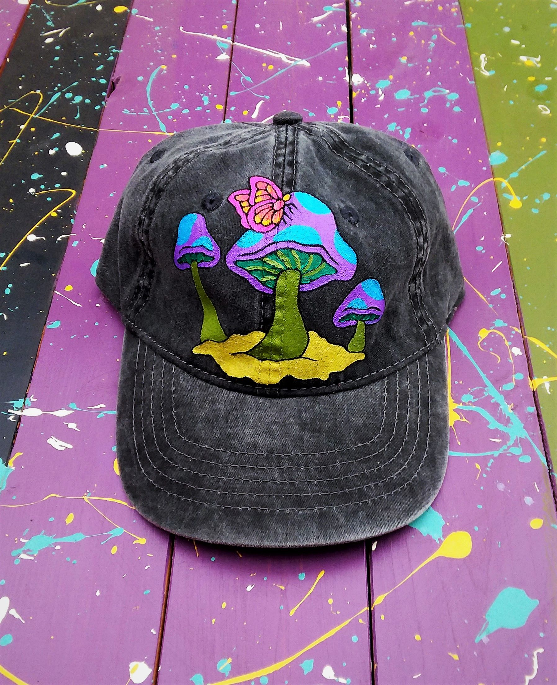Hand Painted Psychedelic Butterfly Landing On Magic Mushroom Gray Denim Baseball Cap By Bleudoor On Instagra In 2021 Painted Hats Hand Painted Hats Embellished Jacket