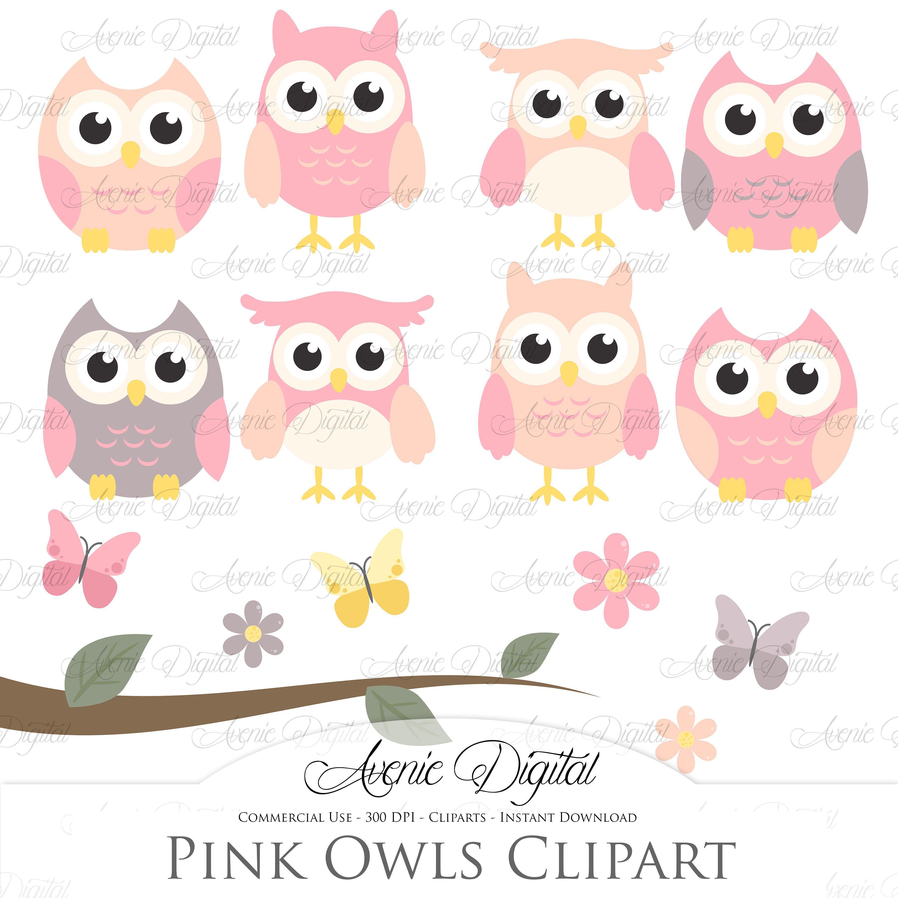Pink and Grey Owl Cliparts - Vectors | Owl clip art, Pink ...