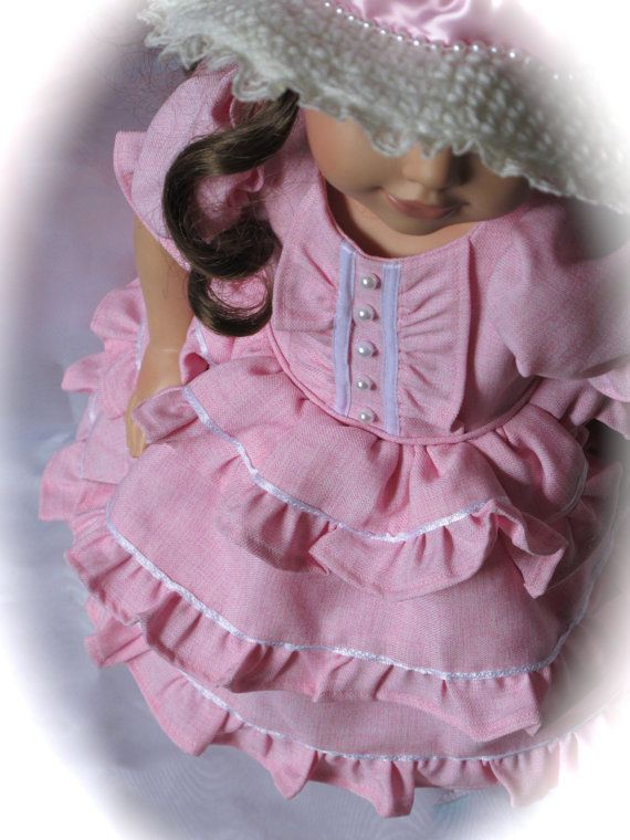 American Girl Southern Belle/Victorian Dress & Hat - Pink and White #dollvictoriandressstyles