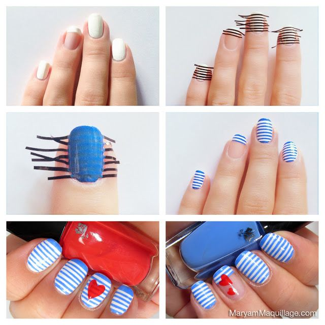 Stripes Nail Art Tutorial - by All Day Chic  --  http://alldaychic.com/stripes-nail-design-tutorial/