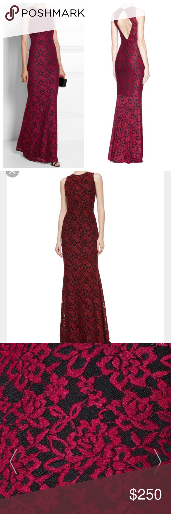 Alice olivia embroidered floral lace gown dress nwt alice olivia