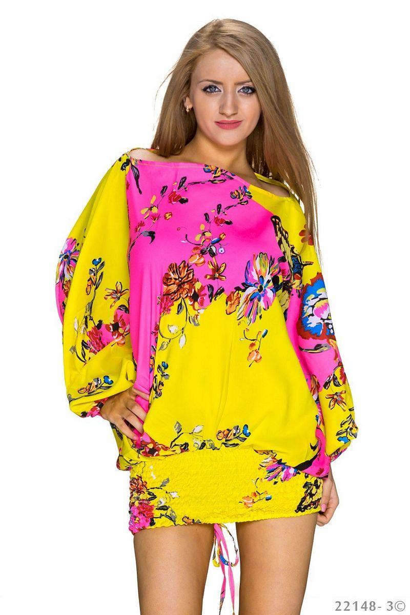 2ec6f30871d 2 σε 1 μίνι φόρεμα - Harem Overall - Κίτρινο Πολύχρωμο | Φορέματα ...
