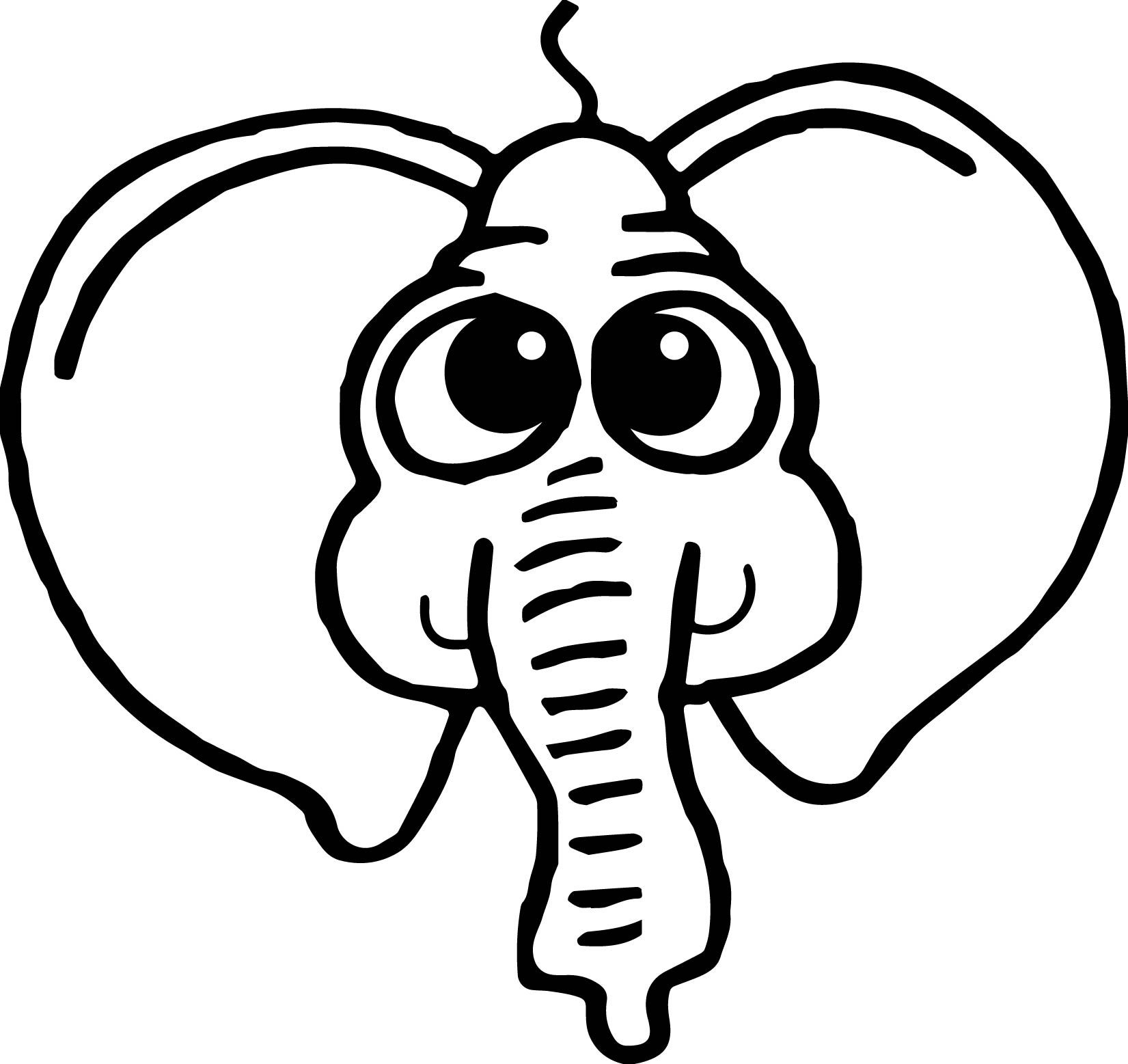 Nice Cartoon Elephant Face Coloring Page Elephant Face Cartoon