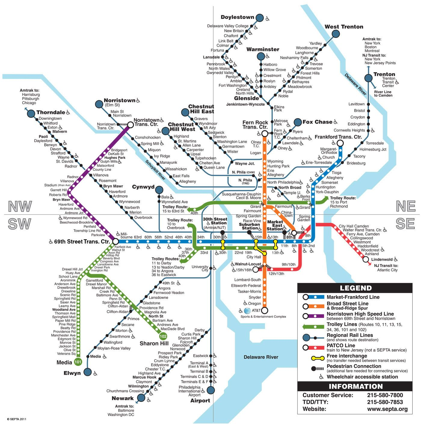 Philly Subway Map.Septa Philadelphia Subway Maps Subway Map Visit Philly Train Map